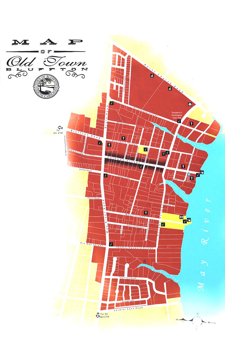 Map of Old Town Bluffton // Things to do in Bluffton SC