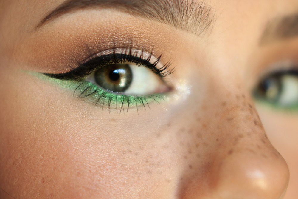 St. Patrick's Day makeup ideas - green liner to make eyes stand out