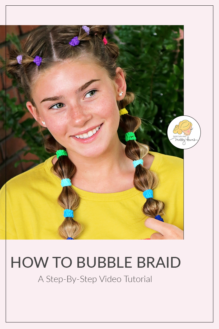 If you're interested in learning how to bubble braid, this video has easy step-by-step instructions! | #bubblebraid #dancehair | sandsunandmessybuns.com