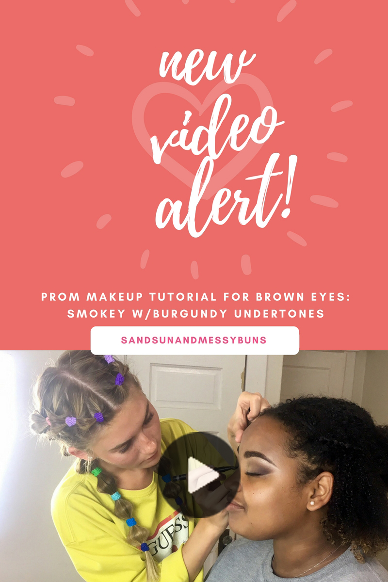 Prom makeup tutorial for brown eyes. Try this smokey eye with burgundy undertones for a night out!
