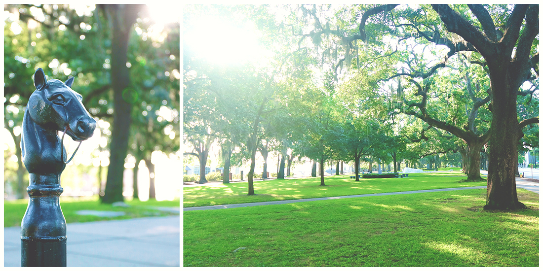 Collage of an old cast iron horse hitch located on the edge of Emmet Park and a wide angle shot of the lush green park covered in mature oak trees on a bluff overlooking Savannah's River Street.
