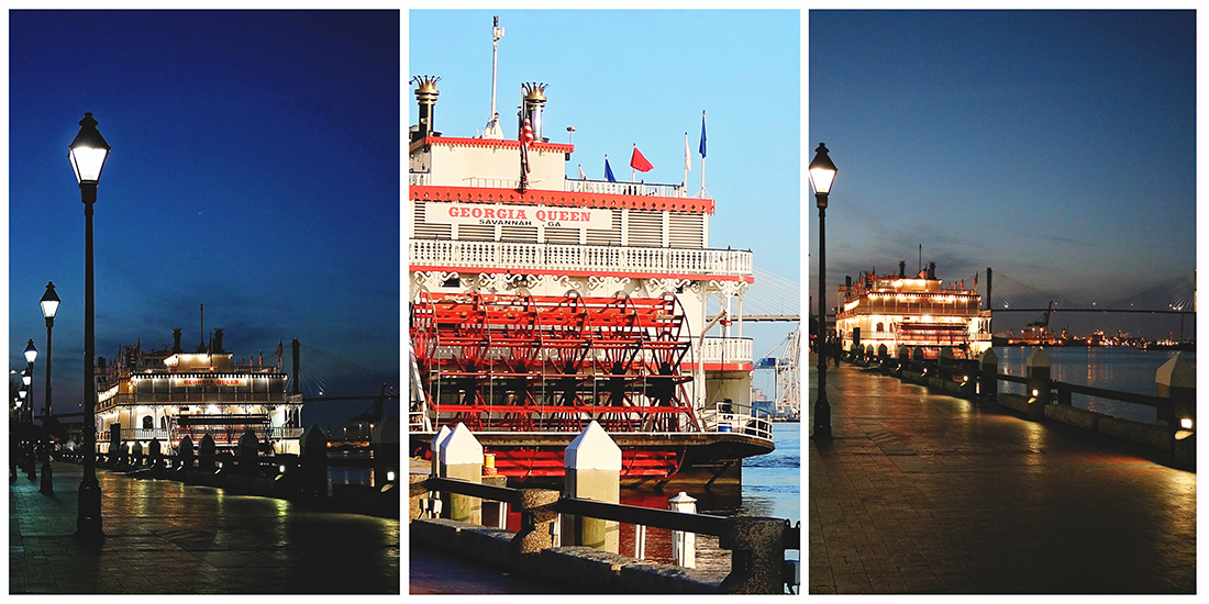 Collage image of Savannah's Rousakis Plaza on River Street showing the Georgia Queen steamboat at night with lights reflecting on the waterfront and a daytime image showing the boat's bright red paddlewheel.