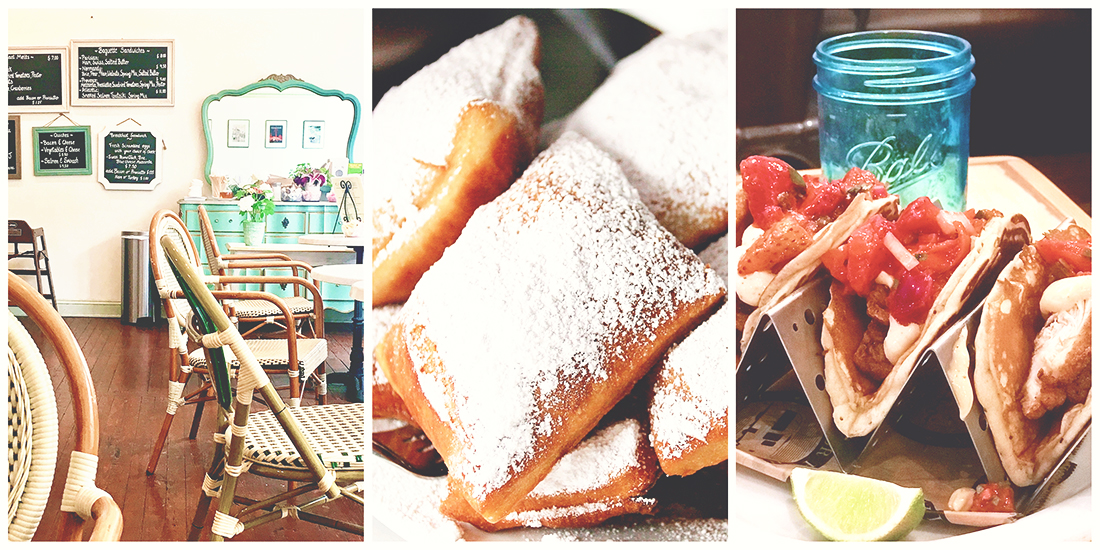 Collage of three restaurants located on River Street in Savannah, the first is an interior shot Cafe M with Parisian-style decor, the second is of large beignets covered in powdered sugar from Huey's, and the last is of 3 pancakes folded into waffle shapes and filled with chicken and fresh bright red strawberries at Treylor Park.