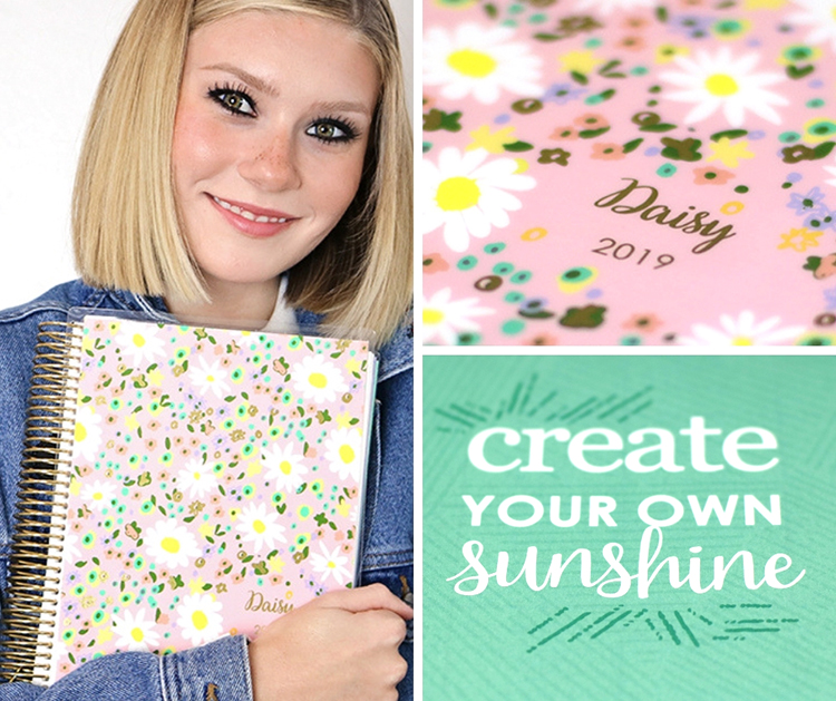 Image of teen girl holding a planner that has daisies and her name monogrammed on it with the year 2019.