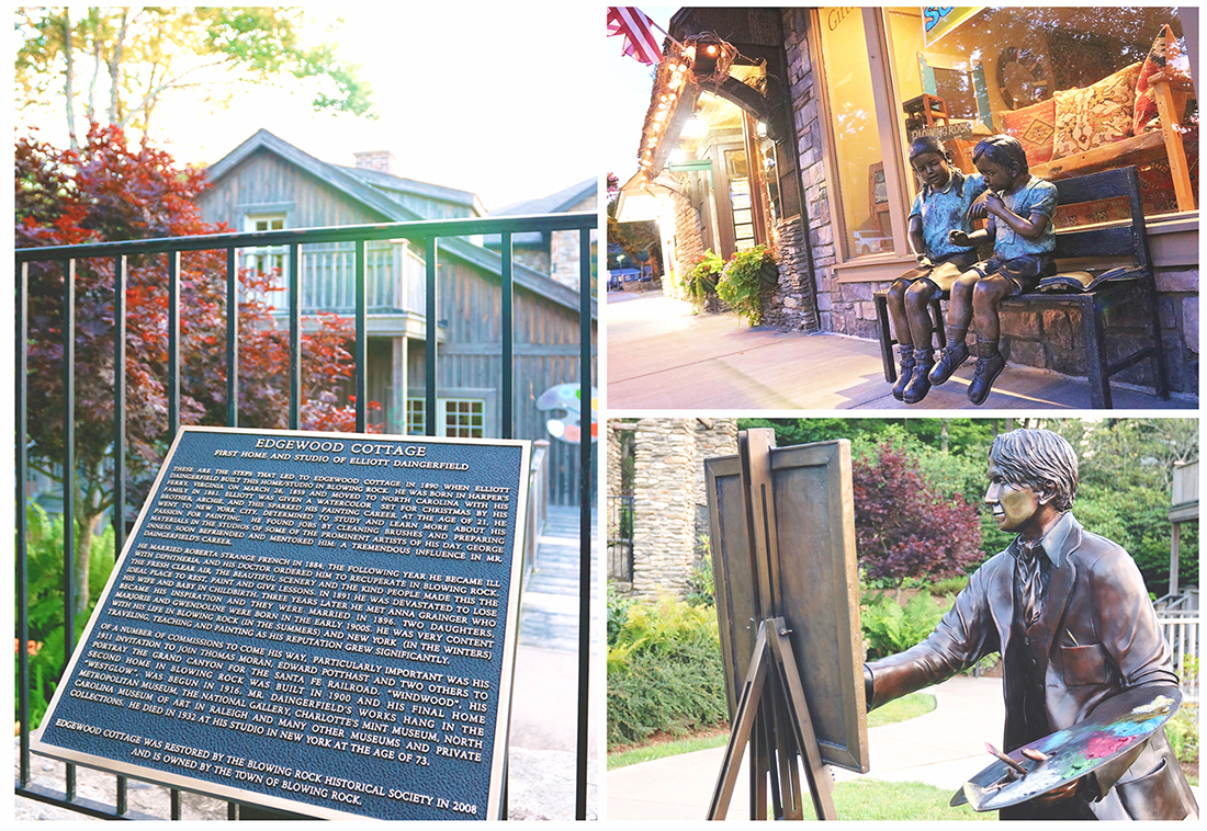 Collage image of two bronze statues and a plaque telling the history of the artists in residence cottage.