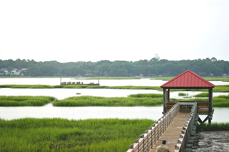 The Disney Resort Pier stretches out over Hilton Head's Broad Creek.