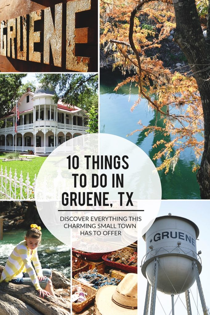 Pinnable multi-photo collage with pictures of the Texas Hill Country and a text overlay that reads 10 Things To Do in Gruene TX.